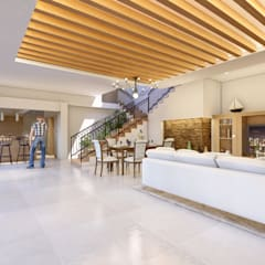 Remod. Casa LDZ: Salas de estilo  por AXS Arquitectos, Mediterráneo Cerámico
