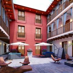 Patio: Pasillos y vestíbulos de estilo  por FRANCO CACERES / Arquitectos & Asociados
