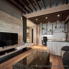 Livings de estilo  por Hi+Design/Interior.Architecture. 寰邑空間設計, Industrial Madera Acabado en madera