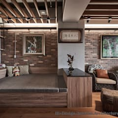 Bedroom by Hi+Design/Interior.Architecture. 寰邑空間設計, Industrial Wood Wood effect