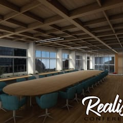 360-degree Realistic VR Conference Room of Virtual Reality Studio by virtual reality companies, Liverpool – UK:  Offices & stores by Yantram Architectural Design Studio