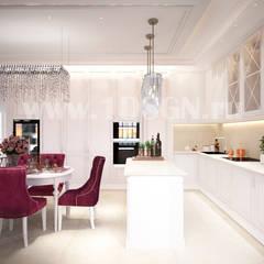 """Дизайн интерьера гостиной-кухни в квартире в ЖК """"Vander Park"""" г.Москва: Встроенные кухни в . Автор – Дизайн студия 'Дизайнер интерьера № 1',"""