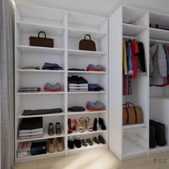 Szara sypialnia Nowoczesna garderoba od Polilinia Design Nowoczesny
