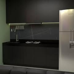PROJETO OE - Apartamento masculino: Armários e bancadas de cozinha  por Bethânia Alves Interiores,Minimalista
