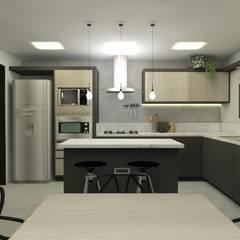 Cozinha rock´'n roll por CG arquitetura e interiores Industrial Pedra