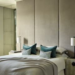 Contemporary London Townhouse:  Bedroom by Camilla Bellord Interiors