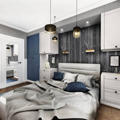 GRANATOWY APARTAMENT: styl , w kategorii Małe sypialnie zaprojektowany przez LESINSKA CONCEPT,Eklektyczny