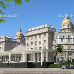 RENDERS INTERIORES Y EXTERIORES DE HOTEL CARRASCO MONTEVIDEO: Hoteles de estilo  por Javier Figueroa 3D