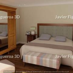RENDERS INTERIORES DE VIVIENDA EN ACASUSSO: Dormitorios de estilo  por Javier Figueroa 3D