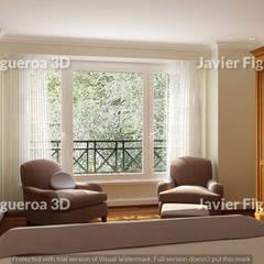 RENDERS INTERIORES DE VIVIENDA EN ACASUSSO: Livings de estilo  por Javier Figueroa 3D