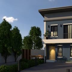 บ้านโมเดริน์ 2 ชั้น:  บ้านและที่อยู่อาศัย by บริษัท พี นัมเบอร์วัน ดีไซน์ แอนด์ คอนสตรัคชั่น จำกัด