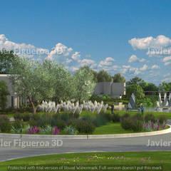 RENDERS EXTERIORES Y AÉREOS DE COMPLEJO RESIDENCIAL EN TIGRE: Casas de estilo  por Javier Figueroa 3D