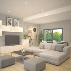 غرفة المعيشة تنفيذ Trenta Casas Prefabricadas de Hormigón en Madrid , حداثي أسمنت