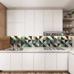 Tomang Residence: Dapur oleh PT VISIO GEMILANG ABADI, Skandinavia Kayu Lapis