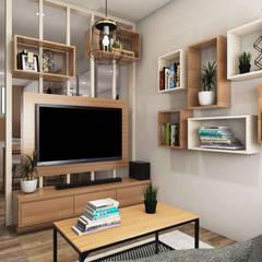 Tomang Residence: Ruang Keluarga oleh PT VISIO GEMILANG ABADI, Skandinavia Kayu Buatan Transparent