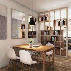 Tomang Residence: Ruang Makan oleh PT VISIO GEMILANG ABADI, Skandinavia Kayu Lapis