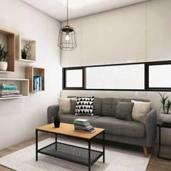 Tomang Residence: Ruang Keluarga oleh PT VISIO GEMILANG ABADI, Skandinavia Kayu Lapis