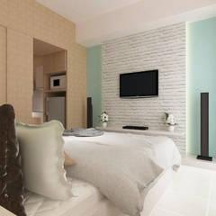 Ayodhya Apartment: Kamar Tidur oleh PT VISIO GEMILANG ABADI, Skandinavia Kayu Buatan Transparent