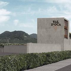 Cantine Val d'Oca: Spazi commerciali in stile  di ALESSIO LO BELLO ARCHITETTO a Palermo