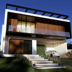Casa Contemporânea od Gelker Ribeiro Arquitetura | Arquiteto Rio de Janeiro Industrialny Drewno O efekcie drewna