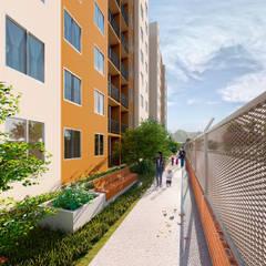 SENDERO ECOLÓGICO: Jardines de estilo  por Constructora Cosenza