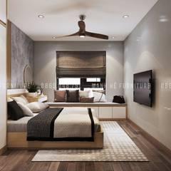 Thiết kế nội thất căn hộ chung HaDo Centrosa Garden 86m2 có 2 phòng ngủ - Cô Hồng, Quận 10, TP.HCM:  Phòng ngủ nhỏ by Công ty TNHH Nội Thất Mạnh Hệ,