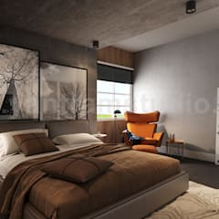 Modern Master Bedroom Design Concept with Interior Rendering Services by Yantram Architectural Modeling Firm, Paris – France:  Small bedroom by Yantram Architectural Design Studio