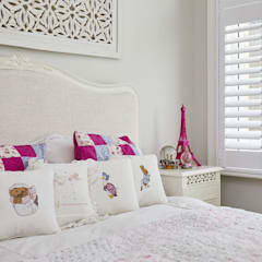 A Stunning Scandi Style Home in Fulham:  Small bedroom by Plantation Shutters Ltd