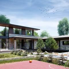 Современный двухэтажный дом с панорамными окнами: Дома в . Автор – Компания архитекторов Латышевых 'Мечты сбываются', Минимализм