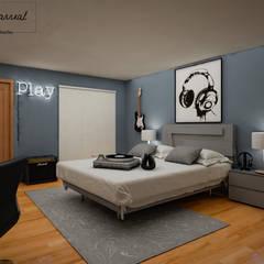 Casa Contemporanea en Guadalajara: Recámaras para adolescentes de estilo  por Citlali Villarreal Interiorismo & Diseño, Moderno