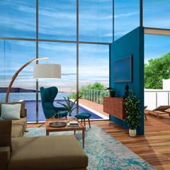 Casa frente al Lago de Chapala: Salas de estilo  por Citlali Villarreal Interiorismo & Diseño, Escandinavo
