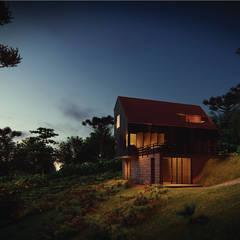 Projekty,  Chata z okrąglaków zaprojektowane przez Franthesco Spautz Arquitetura
