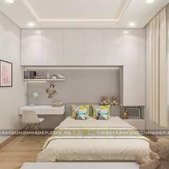 Mẫu nhà đẹp 3 tầng 5x12m đơn giản mà đẹp phù hợp với mọi gia đình:  Phòng ngủ by Công ty cổ phần tư vấn kiến trúc xây dựng Nam Long,