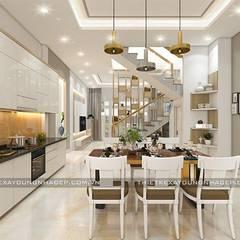 Mẫu nhà đẹp 3 tầng 5x12m đơn giản mà đẹp phù hợp với mọi gia đình:  Nhà bếp by Công ty cổ phần tư vấn kiến trúc xây dựng Nam Long