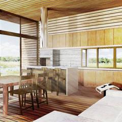 CASA DE CAMPO: Salas de jantar  por Franthesco Spautz Arquitetura,Campestre