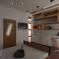 Remodelación y ampliación   Departamentos 65: Recámaras de estilo  por Arquitectura & Diseño