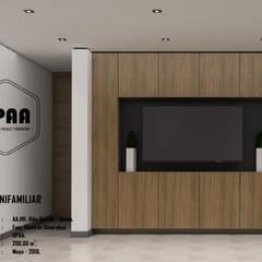 VIVIENDA UNIFAMILIAR RAMIREZ SINARAHUA: Salas de entretenimiento de estilo  por UPAA ARQUITECTOS, Moderno