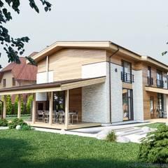 Вид на террасу. Левый угол: Деревянные дома в . Автор – hq-design