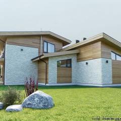 Вид с правой стороны главного фасада: Деревянные дома в . Автор – hq-design