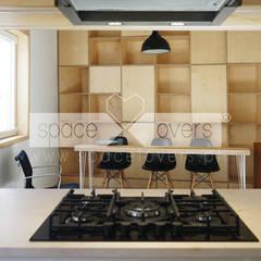 Remodelação de Apartamento Alcântara - Obra Concluída Salas de jantar minimalistas por spacelovers Minimalista Contraplacado