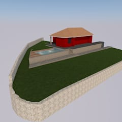 Vista geral da piscina e jardim moderna: Piscinas de jardim  por AmaCasa