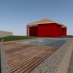Vista lateral da piscina: Piscinas de jardim  por AmaCasa