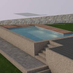 Vista topo da piscina: Piscinas de jardim  por AmaCasa