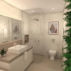 Banheiro amplo: Banheiros  por Revisite,Moderno