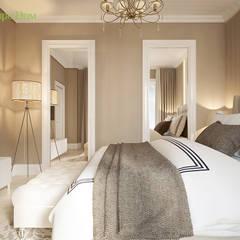Дизайн трехкомнатной квартиры 88 кв. м в современном стиле: Спальни в . Автор – ЕвроДом