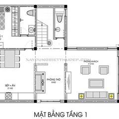Thiết kế biệt thự 2 tầng chữ L đẹp:  Nhà by Xây Dựng Biệt Thự Đẹp, Hiện đại