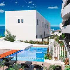 Apartamentos Essence: Piscinas de jardín de estilo  de VAQUERO&WORKGROUPS