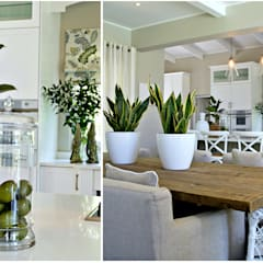 Nature inspired living spaces:  Dining room by Joseph Avnon Interiors