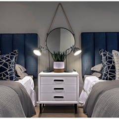 Beach house bedrooms:  Bedroom by Joseph Avnon Interiors, Classic