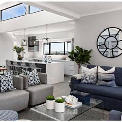 Beach House Living :  Living room by Joseph Avnon Interiors